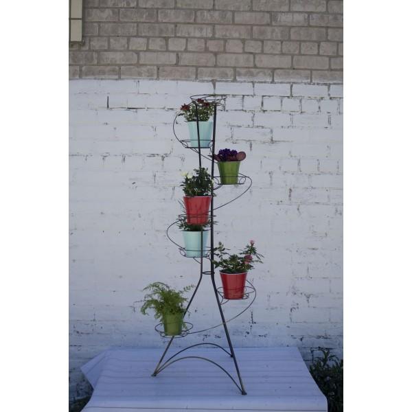 """Кованая подставка для цветов на 7 горшков """"Спираль 7"""""""