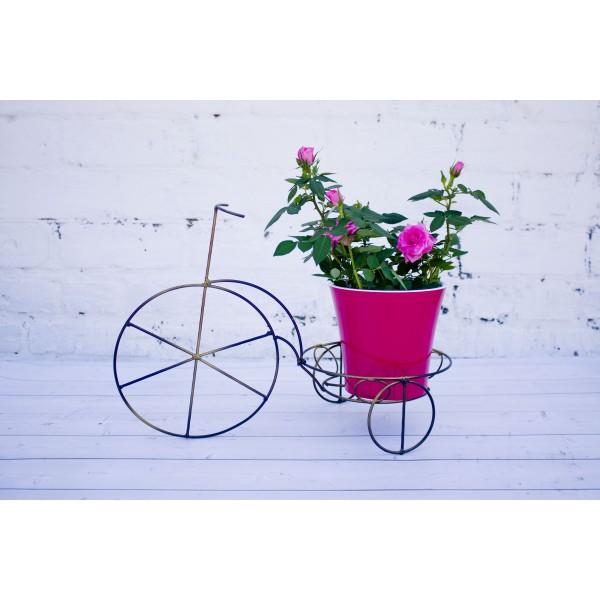 """Кованая подставка для цветов на 1 горшок """"Велосипед Маленький"""""""