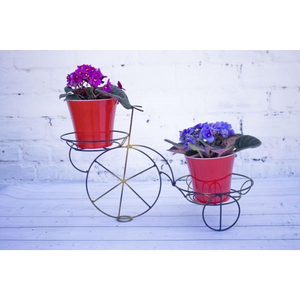 """Кованая подставка для цветов на 2 горшка """"Велосипед Средний"""""""