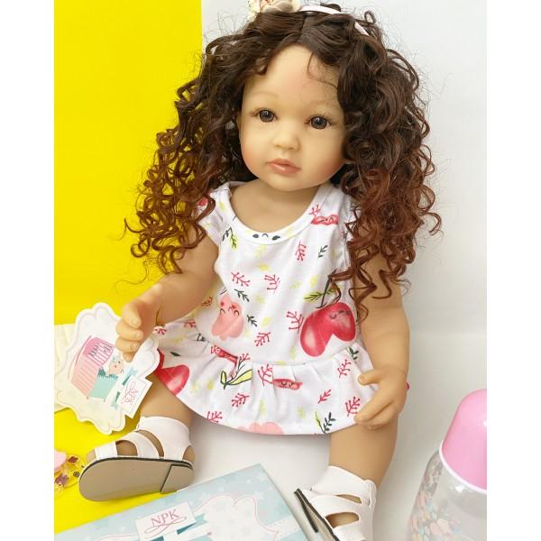 Силиконовая Коллекционная Кукла Реборн Reborn Девочка Дина ( Виниловая Кукла ) Высота 55 См