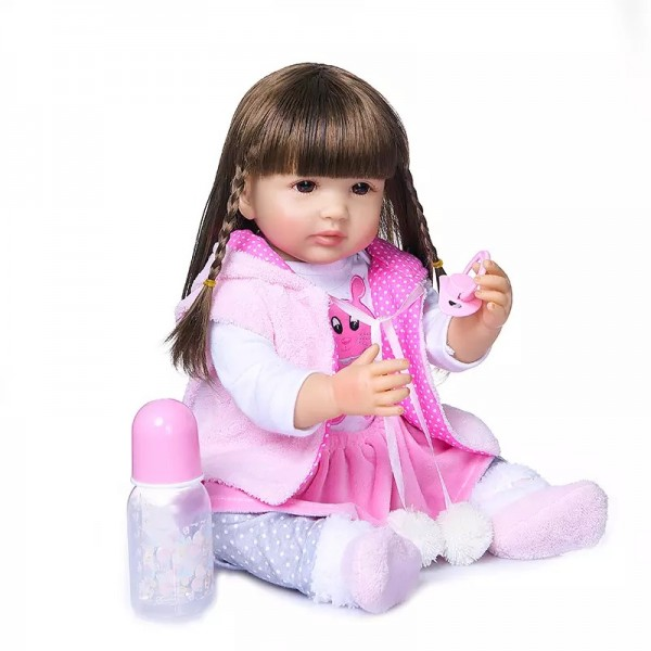 Силиконовая Коллекционная Кукла Реборн Reborn Девочка Милана ( Виниловая Кукла ) Высота 55 См