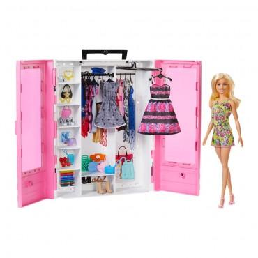 Кукла Барби Игровой Набор Barbie и Модный Шкаф с Одеждой и Аксессуарами Mattel