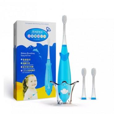 Детская Электрическая Зубная Щетка Звуковая Seago SG921 Музыкальная с LED Подсветкой Голубая