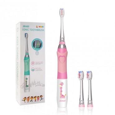 Детская Электрическая Зубная Щетка Звуковая с LED Подсветкой Seago SG977 Розовая