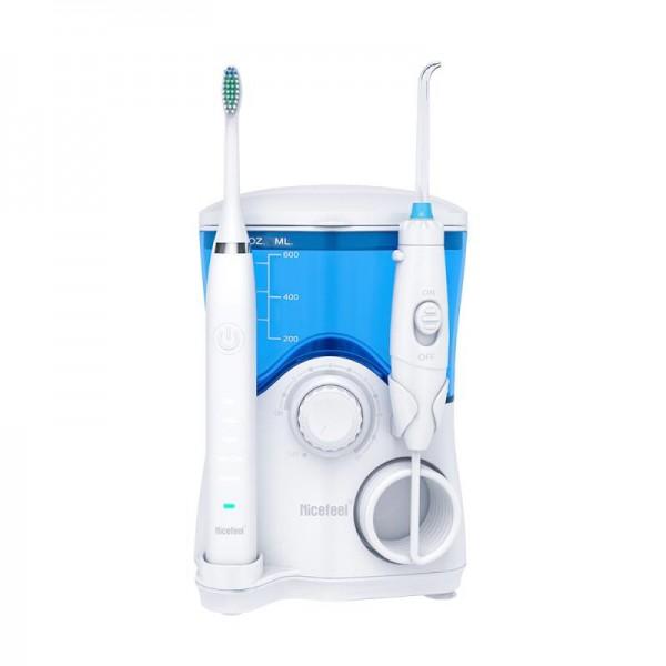 Стационарный Ирригатор 2 в 1 Professional 7 насадок  + электрозвуковая зубная щетка 5 режимов Nicefeel Белый