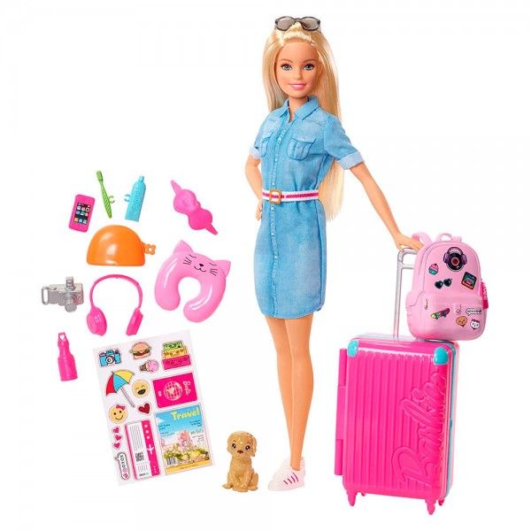 Кукла Барби Игра Travel Set Набор Barbie Путешественница + 15 Аксессуаров Mattel