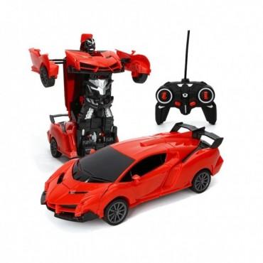 Робот Трансформер Оптимус Прайм Робот Машинка на Радиоуправлении Феррари со Светом и Звуком Красная