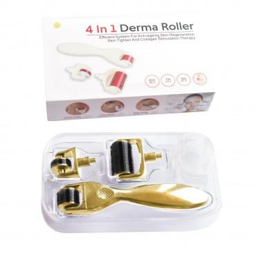 Мезороллер для лица и тела 3 в 1 дермороллер для обновления кожи + футляр для хранения. (Длина игл 0,5 мм 1,0 мм 1,5 мм) Золотой