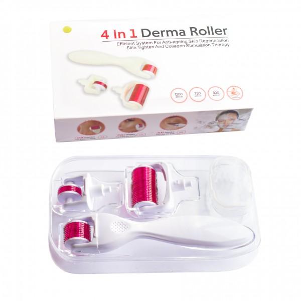 Мезороллер для лица и тела 3 в 1 дермороллер для обновления кожи + футляр для хранения. (Длина игл 0,5 мм 1,0 мм 1,5 мм) Белый