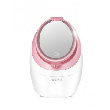 Паровая сауна для лица с ионизацией и зеркалом с LED подсветкой + паровой наногенератор + аппарат для распаривания кожи лица OKACHI GLIYA