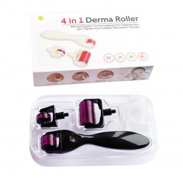 Мезороллер для лица и тела 3 в 1 дермороллер для обновления кожи + футляр для хранения. (Длина игл 0,5 мм 1,0 мм 1,5 мм) Черный