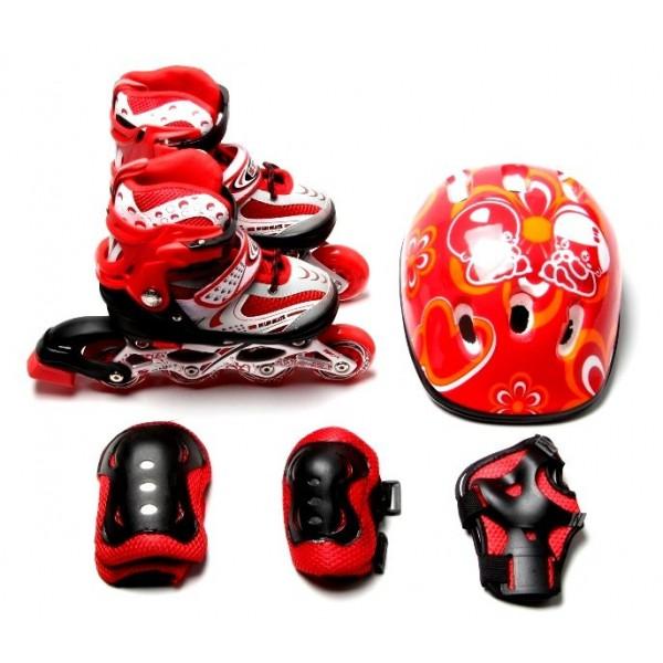 Набор Роликовые Коньки + Защита + Шлем Happy 29-33 Red