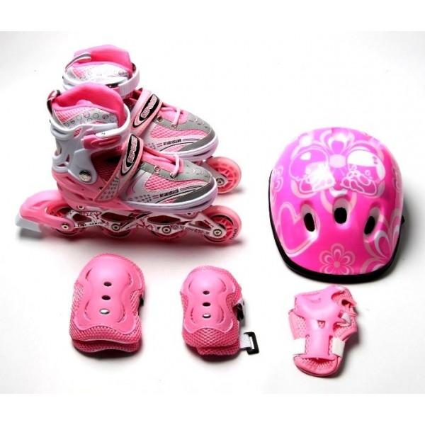 Набор Роликовые Коньки + Защита + Шлем Happy 34-37 Pink