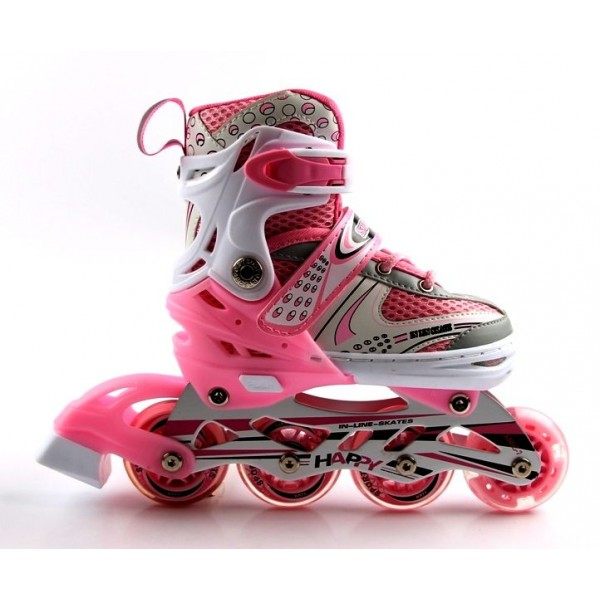 Роликовые коньки Happy с Подсветкой 34-37 Pink