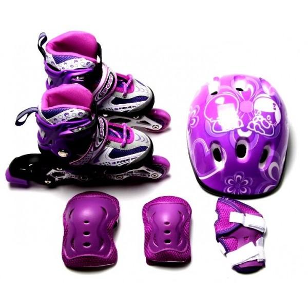 Набор Роликовые Коньки + Защита + Шлем Happy 34-37 Violet