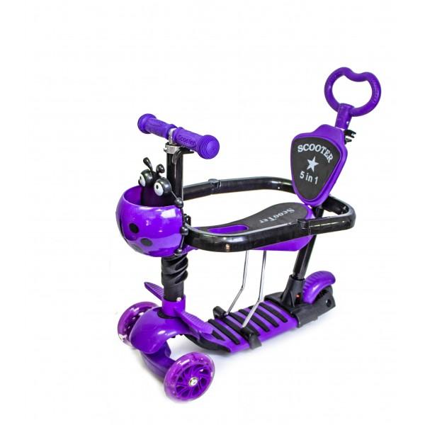 Самокат Детский Scooter Божья Коровка 5 in 1 Violet