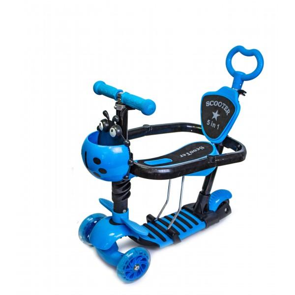 Самокат Детский Scooter Божья коровка 5 in 1 Blue