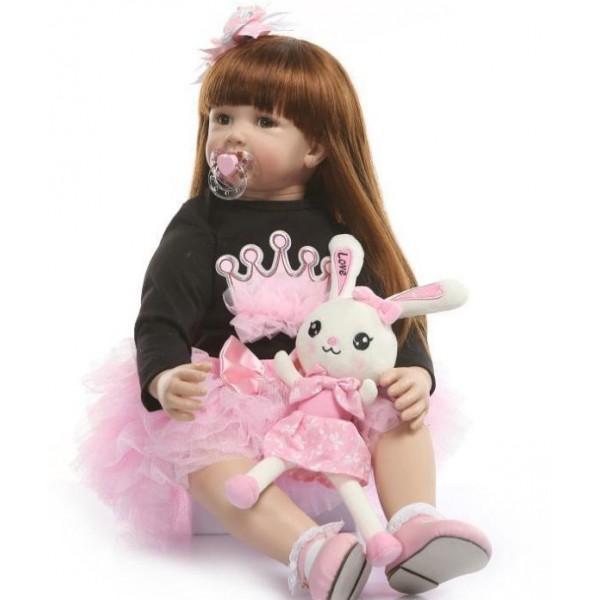 Силиконовая Коллекционная Кукла Реборн Reborn Девочка Карина ( Виниловая Кукла ) Высота 60 см
