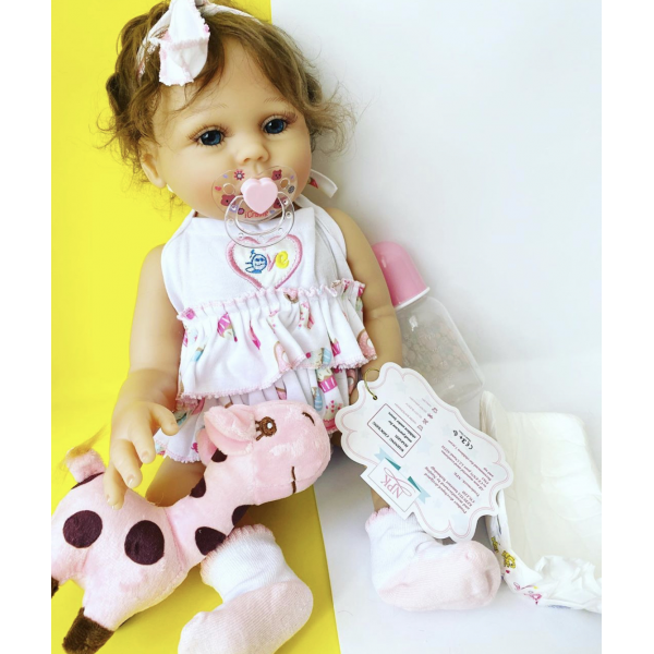 Силиконовая Коллекционная Кукла Реборн Reborn Девочка Арина ( Виниловая Кукла ) Высота 48 См