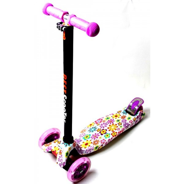 Детский Самокат со Светящимися Колёсами Scale Sports MAXI Violet Flowers (2124391184)