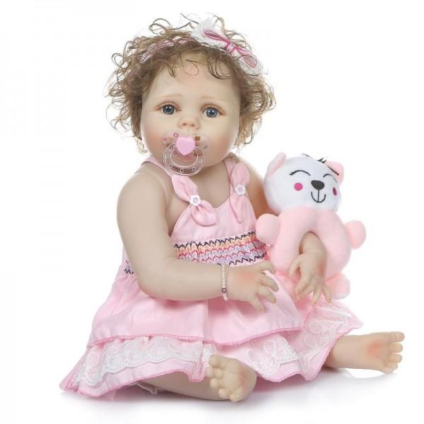 Силиконовая Коллекционная Кукла Реборн Reborn Девочка Настенька ( Виниловая Кукла ) Высота 57 См